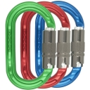 Ultra O Oval Locksafe Pack of 3 Colour Karabiners