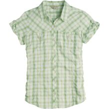 Womens Peasant Plaid Short Sleeved Shirt