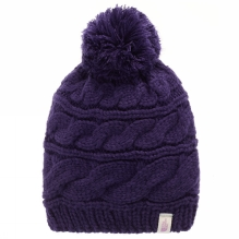 Womens Triple Cable Pom Beanie