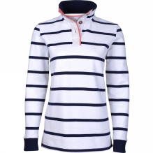 Womens Stripe Pique Button Up Sweater