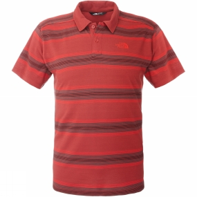 The North Face Mens Hike Polo Rosewood Red Stripe