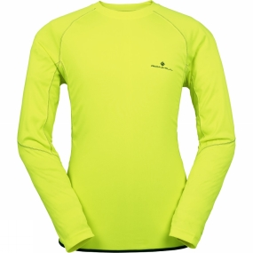 Ronhill Mens Vizion Long Sleeve Crew Fluo Yellow