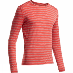 icebreaker mens oasis long sleeve crewe stripe clay/metro heather