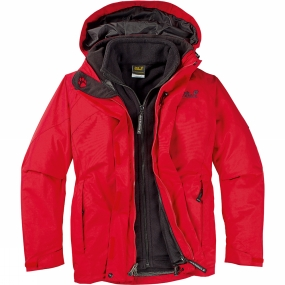 Jack Wolfskin Womens Mountain Creek 3-in-1 Jacket Fire Red
