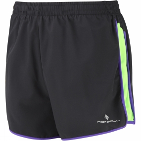 Ronhill Womens Aspiration Liberty Shorts Black/Fluo Green