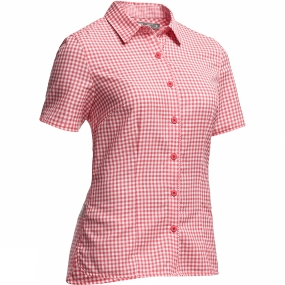 Icebreaker Icebreaker Womens Destiny Short Sleeve Shirt Check Grapefruit / Snow