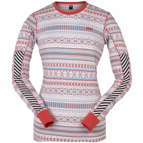 Helly Hansen Womens HH Active Long Sleeve Multistripe White/Pink Glow