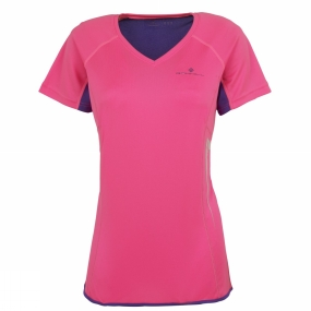 Ronhill Womens Vizion Short Sleeve Tee Fluo Pink/Wildberry
