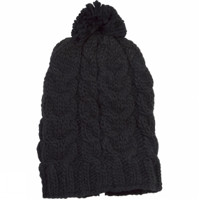 Ayacucho Womens Cable Floppy Pom Pom Hat Black