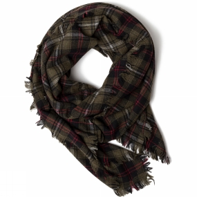 United By Blue United By Blue Womens Highlands Blanket Scarf Olive Plaid