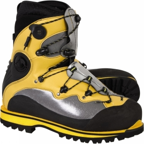 La Sportiva A technical boot for extremes of cold, the Spantik is aimed at the winter alpinist and high-altitude mountaineer. Offering the insulating advantage of classic two-layer plastics without their unwieldy, rigid encumbrance, the overlapping instep allows a precise, comforatble fit. An innovative, single handed lacing system with a simple locking cleat allows closure and adjustments to be made, to the inner or outer boots, while wearing gloves.      The Spantik represents a near-perfect combination of technical support, precision comfort and lightweight insulation: in the environments for which they are designed, you can