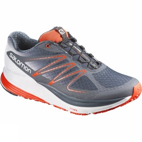Salomon Salomon Mens Sense Propulse Shoe Deep Blue/Grey Denim/Tomato Red