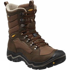Keen The weather outside is frightful? No worries. Lace up your Durand Polar winter boots and get on out there. Cold? The 400-gram Keen.Wam insulation, woolly Thermal Heat Shield footbed and faux fur collar keep things toasty. Snowy icy slush puddles? This boot