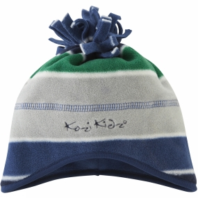 Kozi Kidz Micro Fleece Hat Blue/Green/Grey Stripe