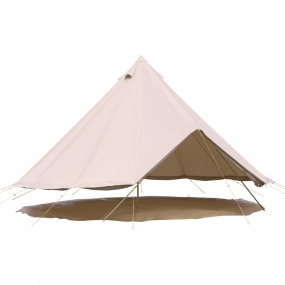 SoulPad A cotton canvas fly with Pegged-In Groundsheet (PIG), a huge 5m diameter, a high 1.75m entrance, 3m at centre and weighing 25kg the 5000-Lite Tent from SoulPad is a very lightweight for its size. The lightweight, waterproof groundsheet is loose and detached from the canvas. However, unique to SoulPad the groundsheet can be pegged together with a 20cm mudguard at the base of the wall which is tucked under the groundsheet and a peg driven through corresponding eyelets between the two. This serves to keep them together. The walls can be rolled up on hot sunny days to let the cool breeze wash over you, it looks pretty cool too, creating the impression that your tent is floating in mid-air. There are four zipped windows and three vents at the top of the bell, all with mosquito mesh fitted. Compatible Products: SoulPad Bijou Inner 5000 LiteSoulPad Demi Inner 5000 LiteSoulPad Coir Half Moon 5000 Series Carpet