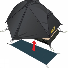 Jack Wolfskin The Jack Wolfskin Floorsaver is an additional groundsheet protector tarp that protects the floor of the tent and helps prevent premature wear and tear. Floorsavers are slightly smaller than the tent floor itself to ensure that rain cannot seep between the two layers and enter the tent. The Floorsaver attaches to the existing guying points using elastic loops to keep it in place, and has a hydrostatic head rating of 10,000 mm.