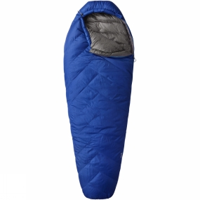 Mountain Hardwear The Ratio 15 Long Sleeping Bag by Mountain Hardwear delivers three season warmth in a longer than average bag to enable you to get the best sleep possible throughout your adventure. The Q.Shield Down 650 fill power insulation has an advanced treatment applied to it which resists heat theiving moisture and helps retain maximum loft in damp conditions, while the unique ThermoTrap Baffle construction locks the down into smaller chambers to help reduce its migration and provide a more consistent warmth throughout the bag.The Comfort mummy cut efficiently maximises warmth and minimises weight without being too constricting making sure you have a restful sleep. The down filled face gasket helps block out any drafts which my incur heat loss from the bag at the opening while an insulated draft tube with anti-snag panel prevents cold spots and drafts along the main zip. Furthermore, single handed draw cords allow you to easily adjust the hood closure with just one hand.