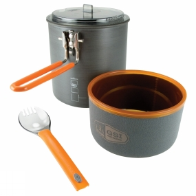 GSI Outdoors This complete solo cooking set is crammed full of useful features. The cooking pot is made from hard anodised aluminium with a Radiance Teflon coating for even cooking and the set contents nest inside the main cooking pot for convenience. In addition, there is room for a small stove plus gas cylinder to fit inside and the fully taped stuff sack can double as a mini wash basin/water carrier.