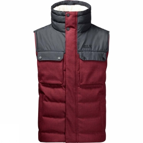Jack Wolfskin Jack Wolfskin Mens Banff Springs Vest Dark Red Checks