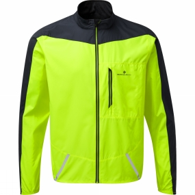 Ronhill Ronhill Mens Stride Windspeed Jacket Fluo Yellow/Charcoal
