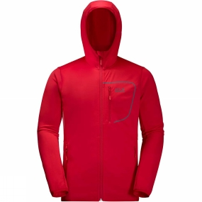 Jack Wolfskin Jack Wolfskin Mens Hydropore Hooded Jacket Ruby Red