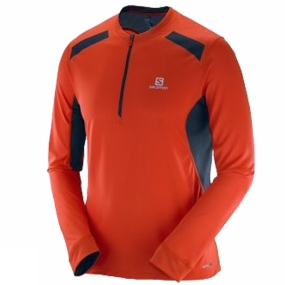 Salomon Salomon Mens Fast Wing Long Sleeve Tee Vivid Orange/Big Blue-X