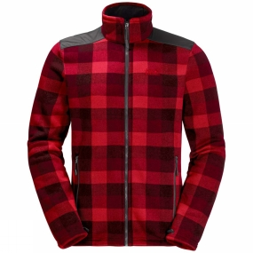 Jack Wolfskin Jack Wolfskin Mens Cabot Check Fleece Jacket Ruby Red Allover