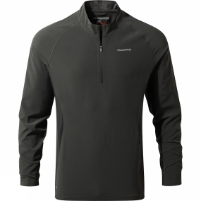 Craghoppers Craghoppers Mens NosiLife Active Long Sleeve Half Zip Top Black Pepper