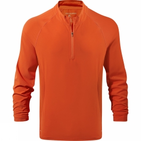 Craghoppers Craghoppers Mens NosiLife Active Long Sleeve Half Zip Top Spiced Orange