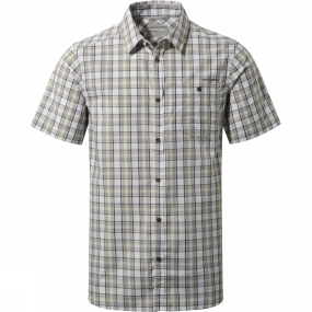 Craghoppers Craghoppers Mens Elmwood Short-Sleeved Check Shirt Quarry Grey Combo