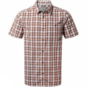 Craghoppers Craghoppers Mens Elmwood Short-Sleeved Check Shirt Carmine Red Combo