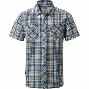 Craghoppers Craghoppers Mens Northbrook Short Sleeved Check Shirt Deep Blue Combo