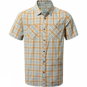 Craghoppers Craghoppers Mens Northbrook Short Sleeved Check Shirt Turmeric Combo