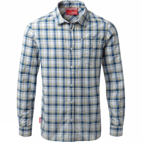 Craghoppers Craghoppers Mens Nosilife Prospect Long Sleeved Check Shirt Deep Blue Combo