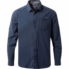 Craghoppers Craghoppers Mens NosiLife Todd Long Sleeve Shirt Night Blue Combo