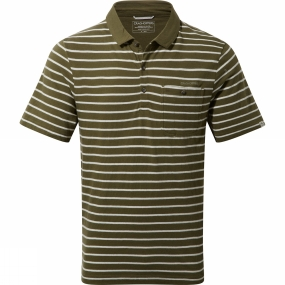 Craghoppers Craghoppers Mens Fraser Short Sleeve Polo Dark Moss Combo