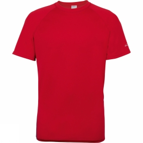 Blue Mountain Mens Performance Baselayer Short Sleeve Crew Red/Ebony