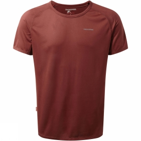 Craghoppers Craghoppers Mens NosiLife Short Sleeve Baselayer Top Red Earth