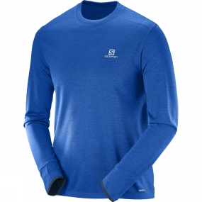 Salomon Salomon Mens Park Long Sleeve Tee Blue Yonder