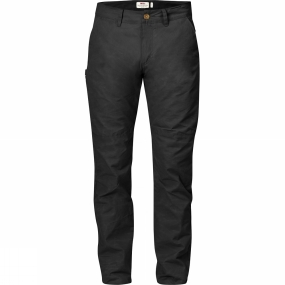 Fjallraven Comfortable hunting trousers in hardwearing, quiet G-1000 Silent Eco with tapered legs that fit easily into a pair of rubber boots. Developed for easier hunting in timeless, simple style making them just as suitable on the shooting range and they have every chance of becoming favourites for everyday use as well. The fabric is weather and wind resistant and effectively ventilates out moisture.The fit is regular with a mid waist that is slightly higher at the back so they sit comfortably when squatting down or carrying a backpack with a hipbelt. There is a knife pocket on the right-hand leg, hand pockets and back pockets with buttons. Reinforced brace zones allow easy attachment of braces.