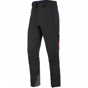 Salewa The Mens Ortles DST Regular Pants from Salewa have ventilation zips at the sides as well as ankle zips. Their ergonomic pre-shaped knees and four-way stretch performance make them well suited to dynamic activities such as ski touring, where flexibility is required. The cuffs are reinforced to prevent damage from ski edges or crampons and they feature internal hooks and loops for attachment to footwear or ski boots.