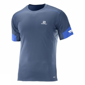Salomon Salomon Mens Agile Short Sleeve Tee Dress Blue/Surf The Web
