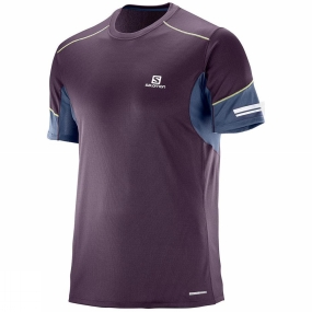 Salomon Salomon Mens Agile Short Sleeve Tee Maverick/Dress Blue