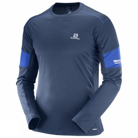 Salomon Salomon Mens Agile Long Sleeve Tee Dress Blue