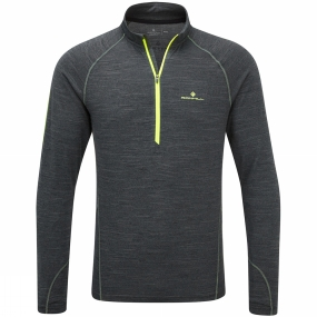 Ronhill Ronhill Mens Stride Thermal Long Sleeve Zip Tee Charcoal Marl/Fluo Yellow