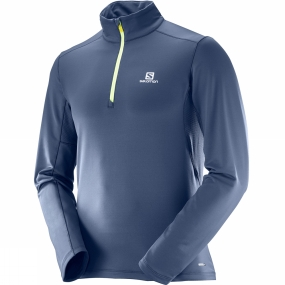 Salomon Salomon Mens Agile Warm Half Zip Mid Top Dress Blue