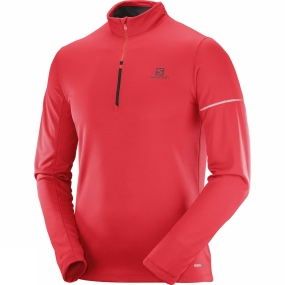 Salomon Salomon Mens Agile Warm Half Zip Mid Top Barbados Cherry/Fiery Red