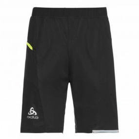 Runners Need Odlo Mens Zeroweight Shorts Black-Safety Yellow
