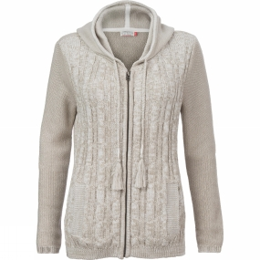 Womens Cable Knit Hooded Cardigan
