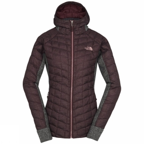 The North Face The North Face Womens ThermoBall Gordon Lyons Hoodie Deep Garnet Red/TNF Medium Grey Heather